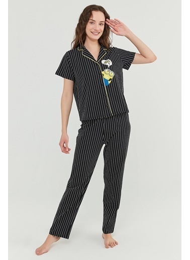 Penti Siyah Lic Minions Banana Gömlek Pantolon Takımı Siyah